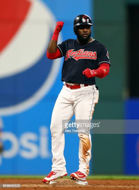 Abraham Almonte of the Cleveland Indians reacts after hitting a double during the game against the Kansas City Royals at Progressive field on...
