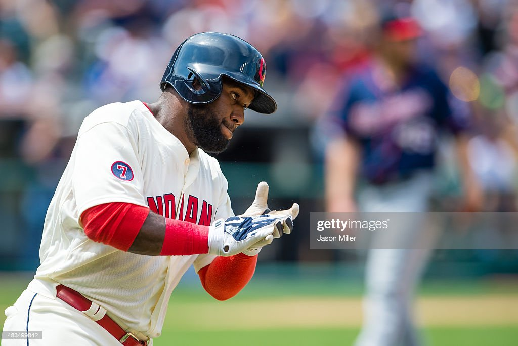 Abraham Almonte #35 of the Cleveland Indians reacts after hitting a two run home run against starting pitcher <a gi-track='captionPersonalityLinkClicked' href=/galleries/search?phrase=Phil+Hughes+-+Baseball+Player&family=editorial&specificpeople=4292469 ng-click='$event.stopPropagation()'>Phil Hughes</a> #45 of the Minnesota Twins during the third inning at Progressive Field on August 9, 2015 in Cleveland, Ohio.