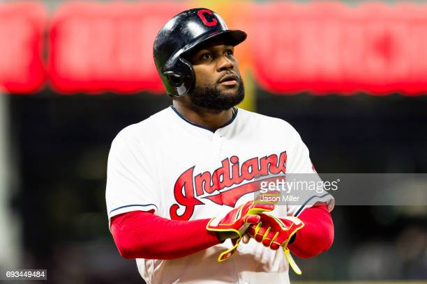 Abraham Almonte of the Cleveland Indians reacts after lining out to end the fifth inning against the Chicago White Sox at Progressive Field on April...