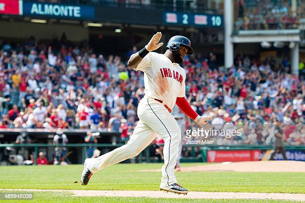 Abraham Almonte of the Cleveland Indians rounds the bases after hitting a grand slam during the fifth inning against the Los Angeles Angels of...
