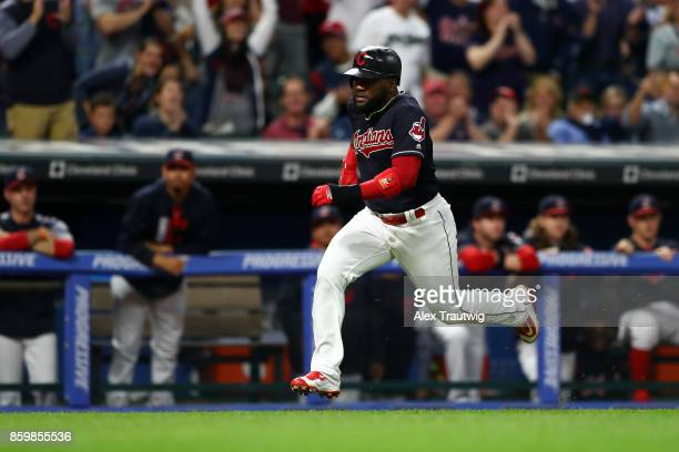 Abraham Almonte of the Cleveland Indians rounds the bases to score during the game against the Kansas City Royals at Progressive field on Thursday...