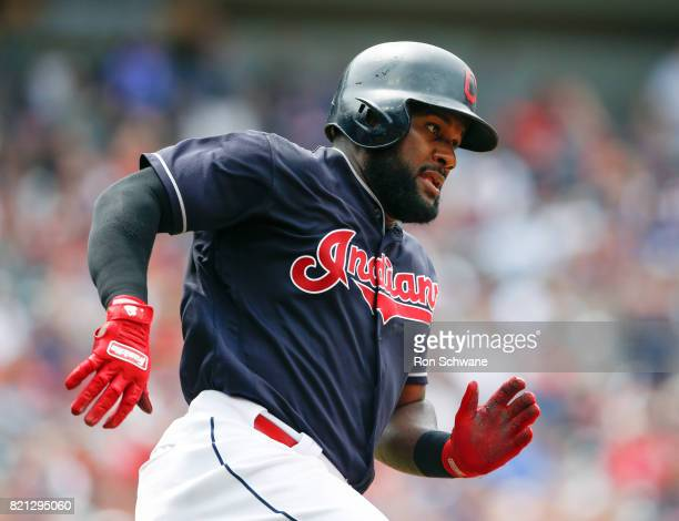 Abraham Almonte of the Cleveland Indians runs out a double off Joe Smith of the Toronto Blue Jays during the seventh inning at Progressive Field on...