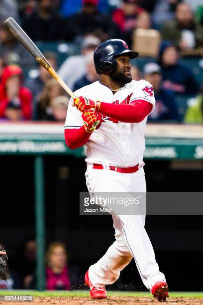 Abraham Almonte of the Cleveland Indians singles during the fourth inning against the Chicago White Sox at Progressive Field on April 13 2017 in...