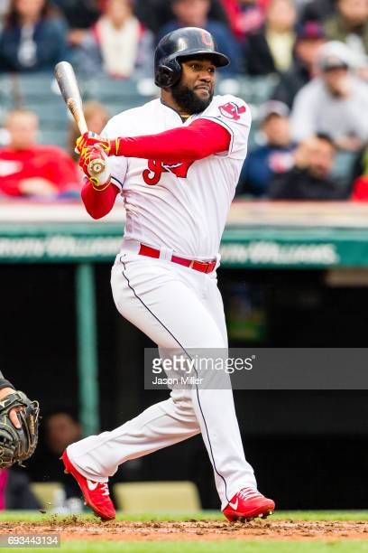 Abraham Almonte of the Cleveland Indians singles during the second inning against the Chicago White Sox at Progressive Field on April 13 2017 in...