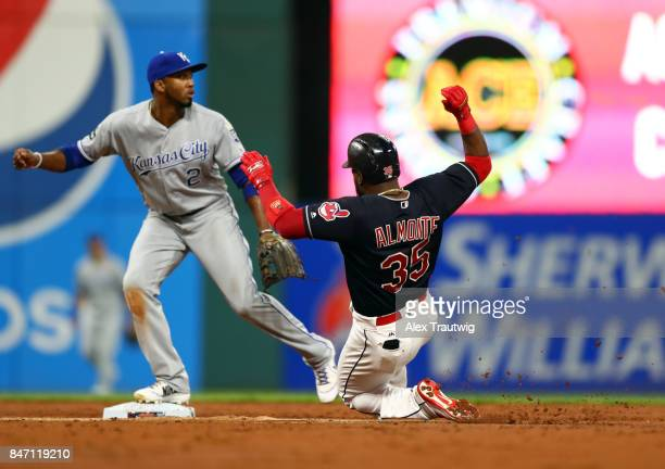 Abraham Almonte of the Cleveland Indians slides into second in the bottom of the third inning of the game against the Kansas City Royals at...
