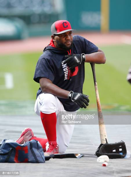 Abraham Almonte of the Cleveland Indians warms up during batting practice before a game against the Detroit Tigers at Progressive Field on April 14...