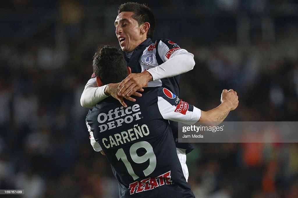 Abraham Dario Carreno of Pachuca celebrates a goal against Queretaro during a match between Pachuca and Queretaro as part of the Clausura 2013 Liga MX at Hidalgo Stadium on January 19, 2013 in Pachuca, Mexico.