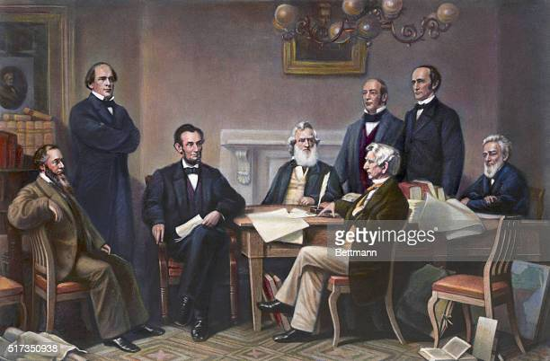 Abraham Lincoln reading the Emancipation Proclamation before his cabinet From an engraving by Alexander Hay Ritchie after a painting by Francis...