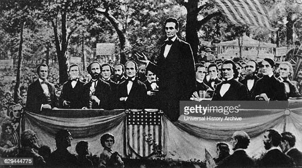 Abraham Lincoln Speaking During one of the LincolnDouglas Debates Charleston Illinois USA September 18 1858