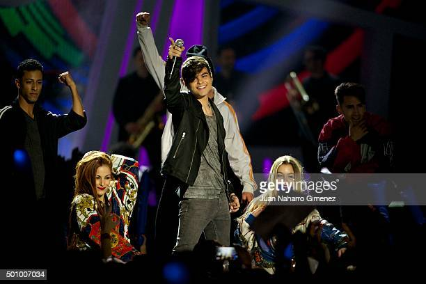 Abraham Mateo performs on stage during '40 Principales Awards 2015 Gala' at Barclaycard Center on December 11 2015 in Madrid Spain