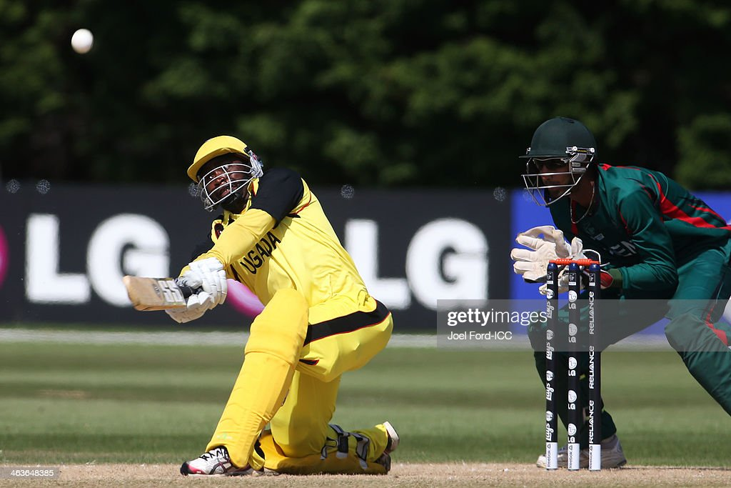 Abram Ndhlovu Mutyagaba of Uganda plays a shot during an ICC World Cup qualifying match against Kenya on January 19, 2014 in Mount Maunganui, New Zealand.