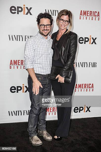 J Abrams and Katie McGrath attend the Premiere Of Epix's 'America Divided' at Billy Wilder Theater at The Hammer Museum on September 20 2016 in...