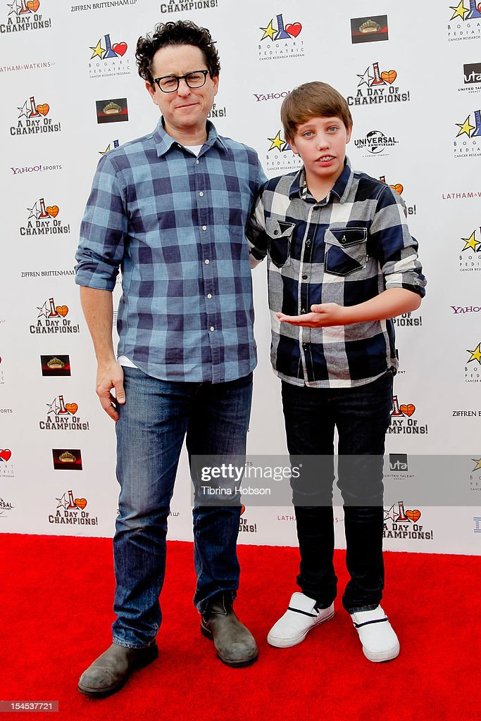 J.J. Abrams and Ryan Lee attend Yahoo! Sports presents 'A Day Of Champions' benefiting the Bogart Pediatric Cancer Research Program at Sports Museum of Los Angeles on October 21, 2012 in Los Angeles, California.