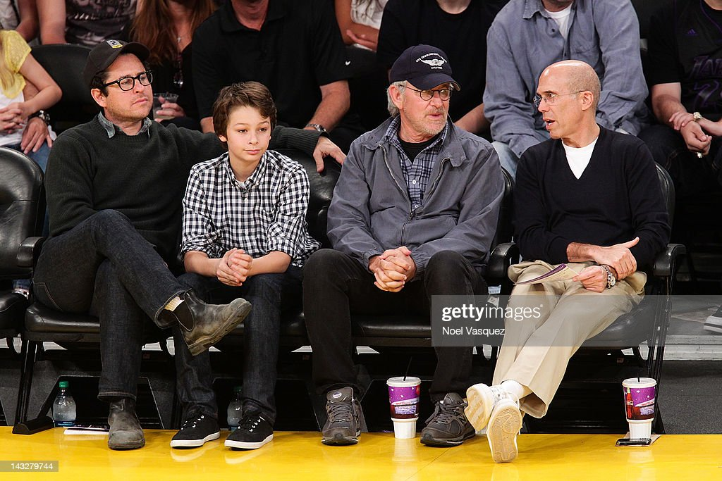<a gi-track='captionPersonalityLinkClicked' href=/galleries/search?phrase=J.J.+Abrams&family=editorial&specificpeople=253632 ng-click='$event.stopPropagation()'>J.J. Abrams</a>, <a gi-track='captionPersonalityLinkClicked' href=/galleries/search?phrase=Steven+Spielberg&family=editorial&specificpeople=202022 ng-click='$event.stopPropagation()'>Steven Spielberg</a>, and <a gi-track='captionPersonalityLinkClicked' href=/galleries/search?phrase=Jeffrey+Katzenberg&family=editorial&specificpeople=171496 ng-click='$event.stopPropagation()'>Jeffrey Katzenberg</a> attend a basketball game between the Oklahoma City Thunder and the Los Angeles Lakers at Staples Center on April 22, 2012 in Los Angeles, California.