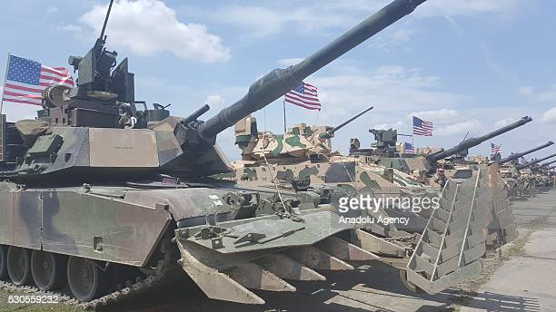 Abrams' tanks belonging to the US forces attend an opening ceremony of the joint military exercise at the Vaziani training area outside Tbilisi in...