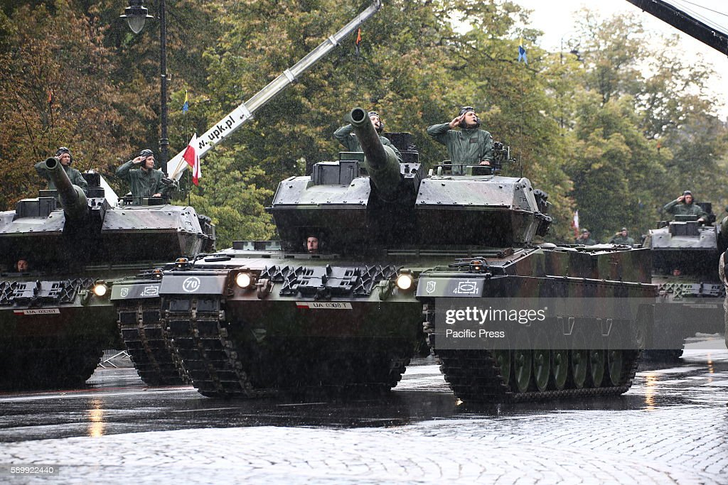 Abrams tanks of the Polish Army take part in the parade of the Polish Army Celebration Day