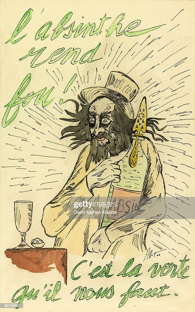 �Absinthe drives you mad� A striking original maquette by Alloton in ink and watercolour for an antiabsinthe poster or journal illustration