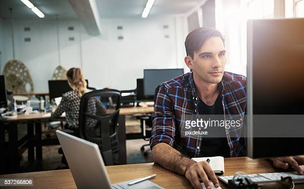 Absorbed in his work tasks