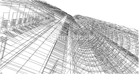 abstract 3d building wireframe structure illustration construction