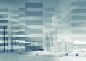 Abstract contemporary background. Cityscape skyline, reflections and polygonal structures layer. Blue toned digital 3d render illustration