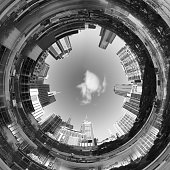 Abstract 3d City Tunnel Black and White