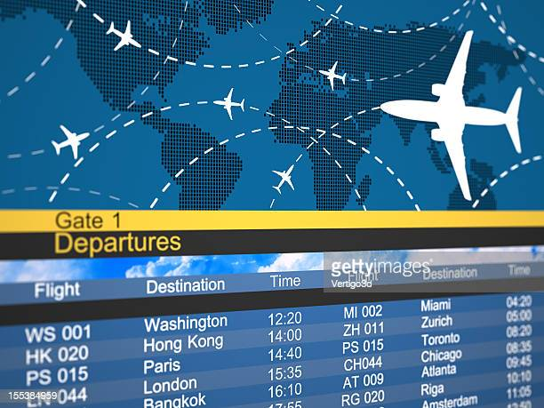 Abstract airline schedule and traffic flight board