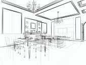 abstract architecture Modern  Villa  Living Room 1