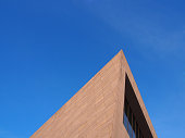 Abstract architecture with blue sky background.