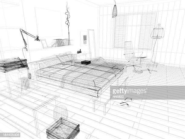 Abstrakt Architektur Drahtmodell Blueprint Schlafzimmer 1