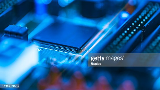 Abstract background of selective focused of electronic part on the electronic circuit board, Education and industrial concept use. : Stock Photo