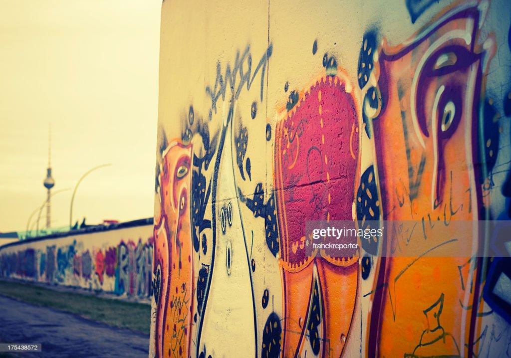 Abstract berlin wall graffiti - Germany : Stock Photo