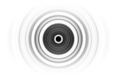 Abstract black rings sound waves oscillating on white background
