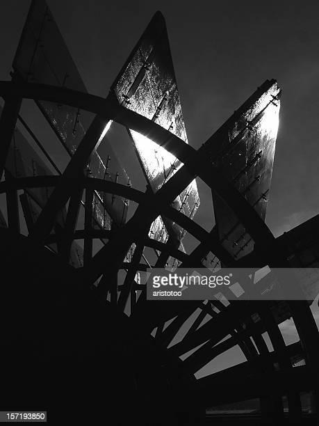 Abstrakte Schwarz-Weiß Paddlewheel &