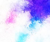 Blue aqua pink purple and white abstract watercolor painting