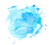 Blue watercolor with splashes. Layered on white watercolor paper. My own work.