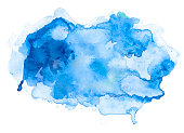 Blue abstract watercolor spot on white watercolor paper, My own work.