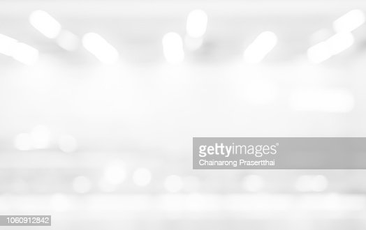 abstract blur exposure of white silver color background with bokeh light for design element concept : Stock Photo