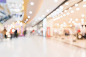 Abstract blur people in modern shopping mall interior defocused background