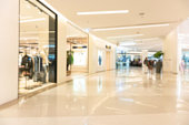 Abstract blur shopping mall luxury and derpartment store for background