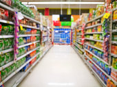 Abstract blur supermarket for background