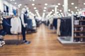 Abstract blurred background of men clothes store in Shopping Mall
