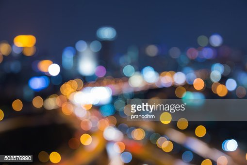 Abstract blurred bokeh light city business background : Stockfoto