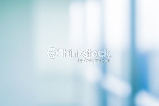 abstract blurred interior of corridor clinic background in blue color , blurry image for presentation ,banner ,ads design concept : Foto de stock