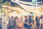 Abstract blurred people in night market or open street market for background