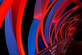 Abstract bridge illuminated