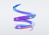 3D Abstract Brush Stroke. Trendy Colorful Paint Splash. Glossy Candy Colors. Liquid Spiral Ribbon. Wave in Motion on Isolated Background. Pink, Blue, Purple Ink. Design for Wallpaper, Advertising, Ban