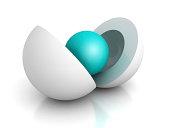 abstract business concept blue center sphere. 3d render illustration