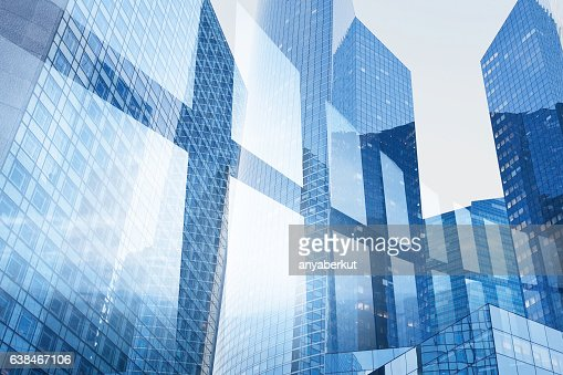 abstract business interior background, blue window double exposure : Stock-Foto