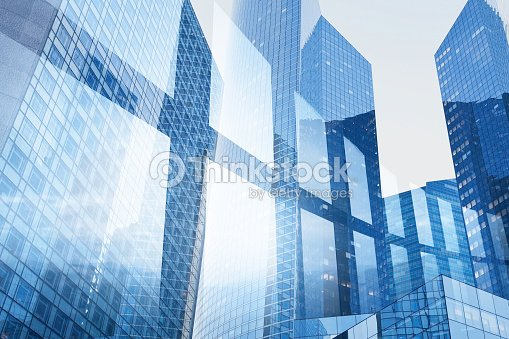 abstract business interior background, blue window double exposure : Foto de stock