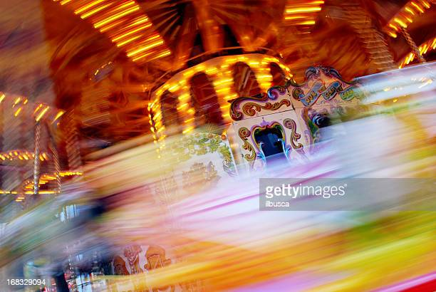 Abstract carousel horse motion blur background